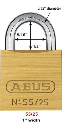 Abus 55/25 Brass Body Padlock, Keyed Different