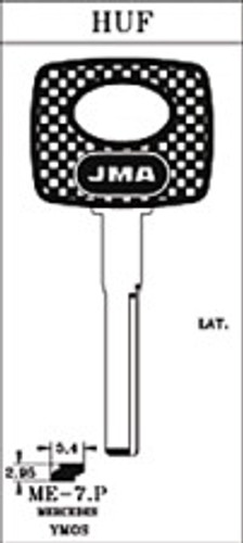 Key blank, JMA ME7P for Mercedes (RH)