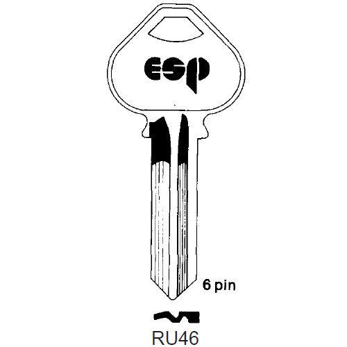 Key blank, ESP RU46 for Corbin Russwin D1 6 Pin
