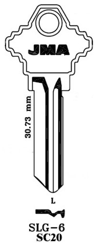 Key blank, JMA SLG-6, SC20/A1145L
