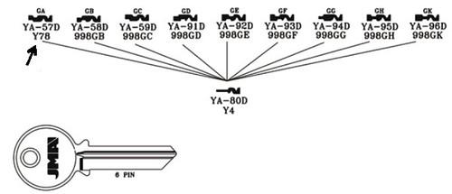 Key blank, JMA YA57D for Yale GA 6pin 998GA,Y78