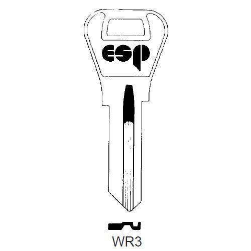Key blank, ESP WR3 for Weiser