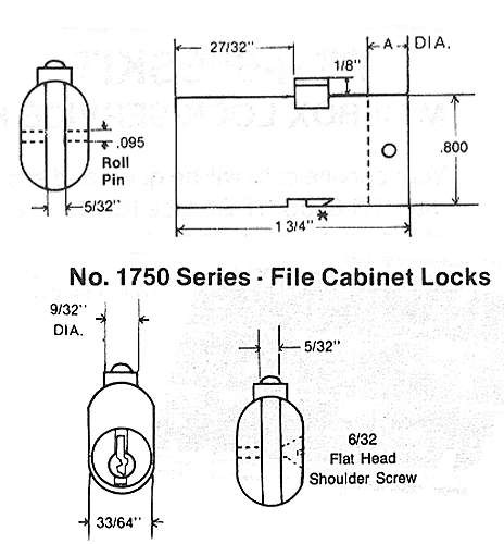 File Cabinet Lock, ESP PTR-1750P312 Keyed Random