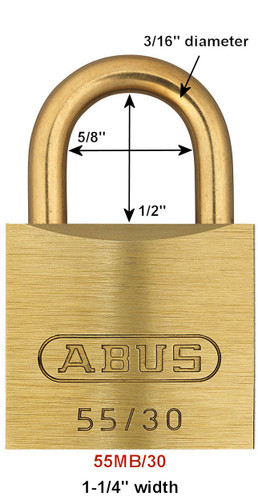 Abus 55MB/30 Brass Body Padlock with Brass Shackle, Keyed Alike 5302