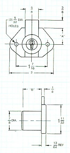 Desk Lock, W/Long Throw