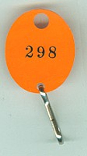 Lund 504-C Key Tag, Oval Orange Numbered