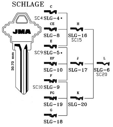 Key blank, JMA SLG16 for SCH A1145H