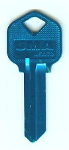 Key blank, JMA KWI1 Aluminum Lt Blue forKwikset KW1