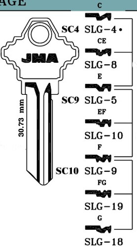 Key blank, JMA SLG5E, E Keyway SC9