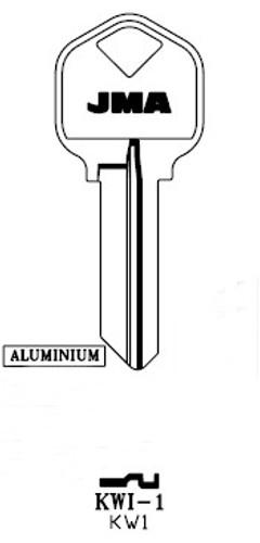 Key blank, JMA KWI1 Aluminum Turquois Kwikset KW1