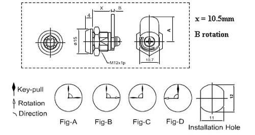 Cam Lock, 2200AS KR/KD Mini Tubular, 10.5mm 90 Degree 2 pulls 15mm Cam