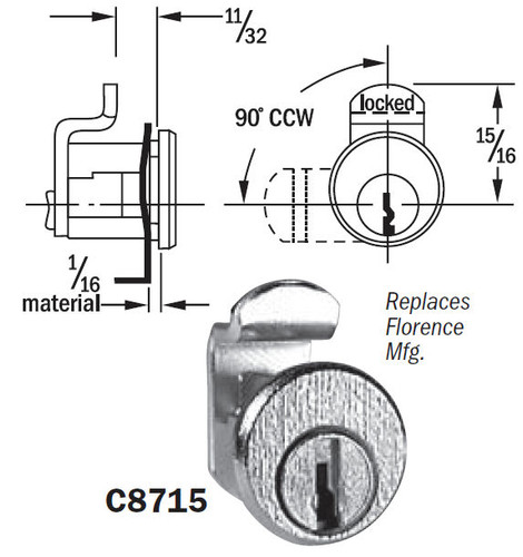 Mailbox Lock, Compx National C8715, Florence
