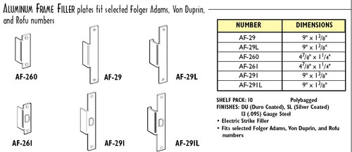 Electric Strike Filler Plate, Don-Jo AF-261-SL Silver Finish