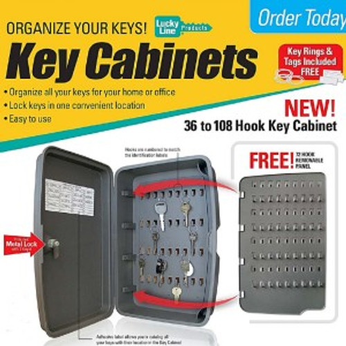 Key Cabinet, 36-108 Hooks with Key Lock, 61400