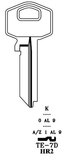 Key blank, JMA TE7DE for Harlock HR2