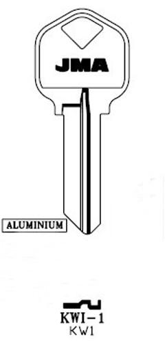 Key blank, JMA KWI1 Alumninum black for Kwikset KW1