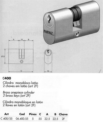 Papaiz C400/55 Double Keyed Cylinder