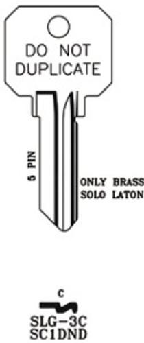 Key blank, JMA SLG3C, SC1 DND Brass