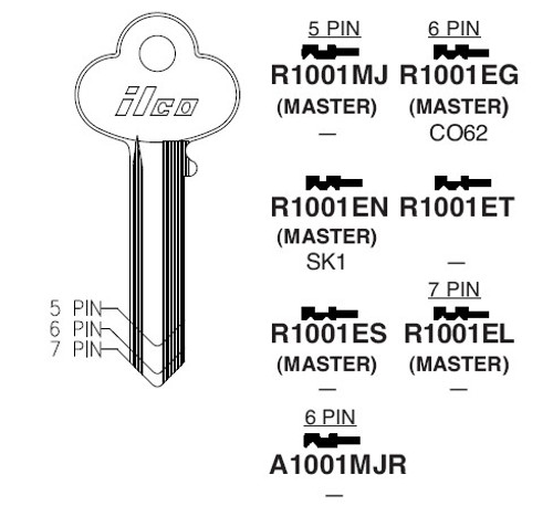 Key blank, Ilco R1001EG Corbin 6-pin CO62