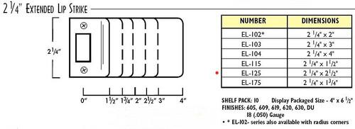 """Extended Lip Strike, 2-1/4x2-1/2"""" EL-125 630"""
