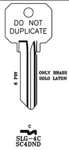 Key blank, JMA SLG4C SC4 DND Brass
