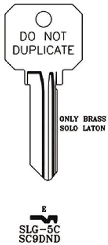 Key blank, JMA SLG5C SC9 DND Brass