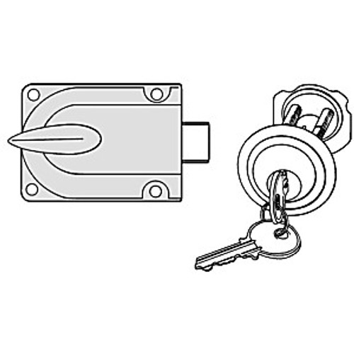 Garage Door Lock with Key Cylinder, Grey Finish