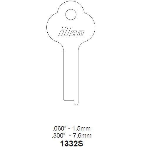 Key blank, Ilco 1332S Steel,  Medart
