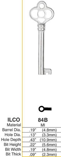 Key blank, Ilco 84B Barrel/Post Type