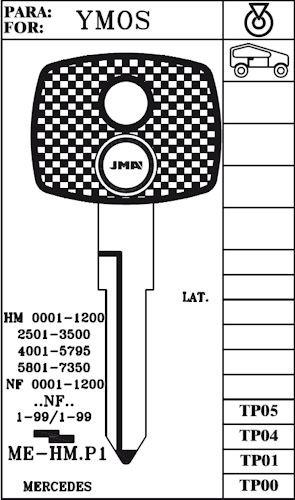 Key blank, JMA TP00MEHMP1 for Sprinter w/o Transponder