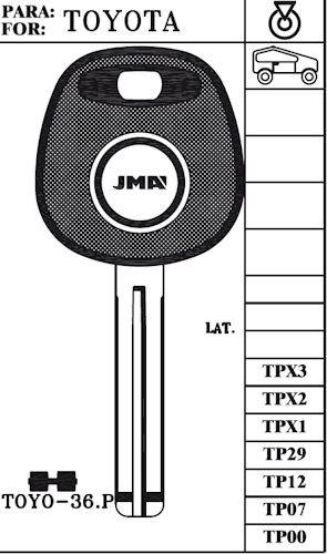 Key blank, JMA TP00TOYO-36.P Toyota w/o Transponder