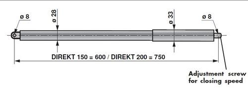 Dictator 392300 Gate Closer, DIREKT 150, 400N Black Finish