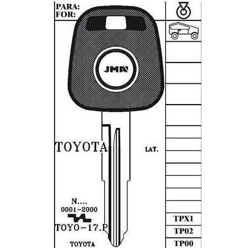 JMA TP00TOYO-17.P Key blank, Toyota w/o Transponder