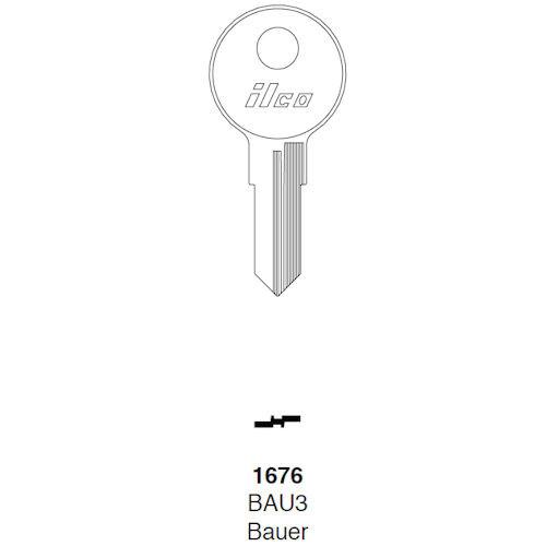 Key blank, Ilco 1676, Baur  BAU3