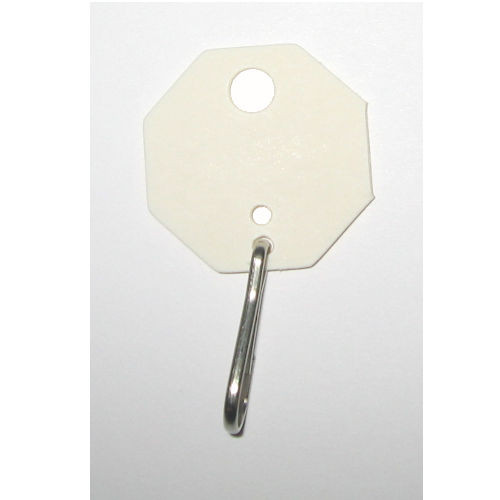 Key Tags, White Fibre Octagonal, 507 Unnumbered