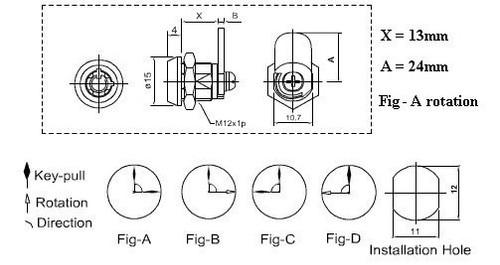 Cam Lock, Mini Tubular KA 0168 13mm 90 Degree 2 pulls 24mm cam