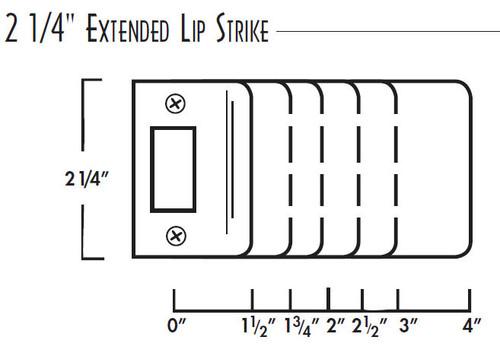 Extended Lip Strike Plate, Don-Jo 9115 DU RC, 2-1/4 x 1-1/2