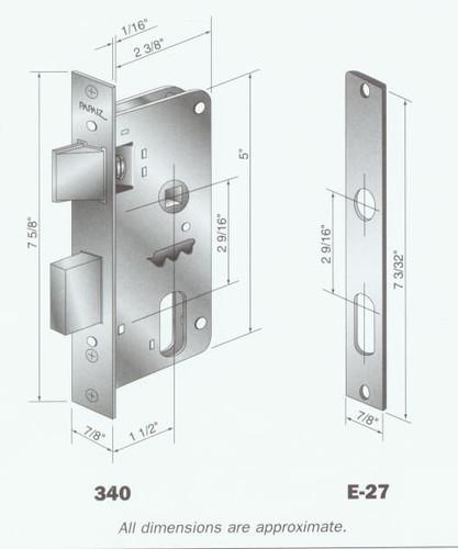 Mortise Lock Body, 340 US3 for Papaiz