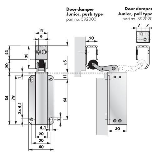 Door Check, #140 Junior (Stainless) 32D, Pull Type 392020, 13N