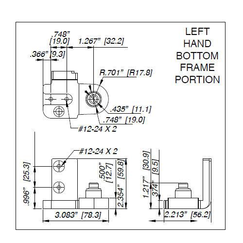 """Pivot Set, Ilco IL-OP-13 LH AL,1/8"""" Recessed"""