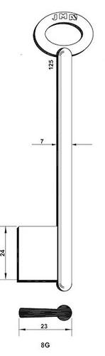 Key blank, JMA 8G Bit Style, 125mm Length