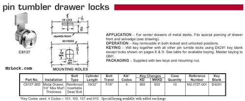 Desk/Drawer Lock, C8137 KA 915 26D