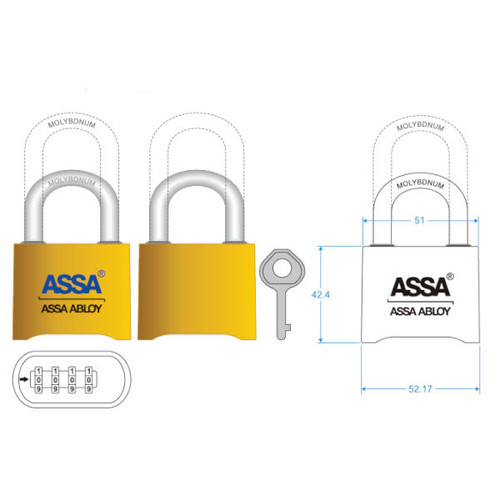 Padlock, Assa SRB37 Combination Padlock, Brass Body (6-Pack)