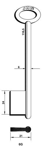 Key blank, JMA 6G Bit Style, 116.5mm Length