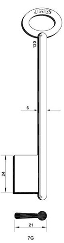 Key blank, JMA 7G, Bit Style, 120mm Length
