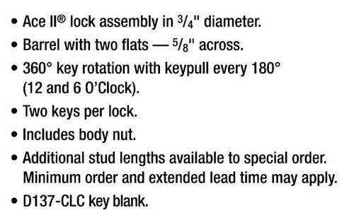 Compx Chicago 4107-18 KA 7341 Screw Type Lock, 18 Thread Keyed Alike 7341