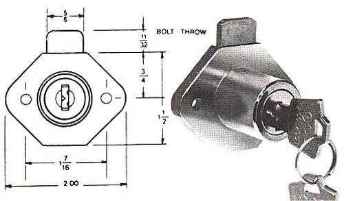 "ESP ULR-WL875 Dull Brass Wood Desk Lock, 7/8"" Keyed Alike ES201"