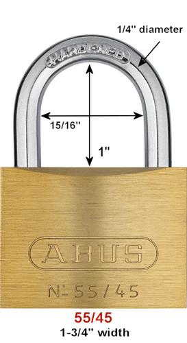Abus 55/45 Brass Body Padlock, Keyed Alike 5453