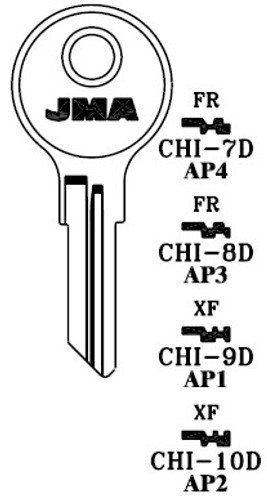 Key blank, JMA CHI8DE for Chicago AP3/103AM