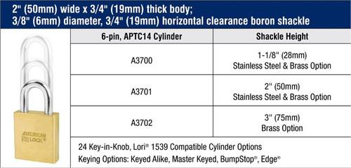 American Lock A3700S Brass Padlock SCH SC1/SC4, Custom Keyed